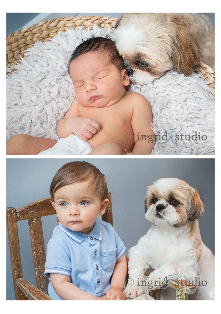 * Sebastien, newborn then 1, with fur-sister Ellie *